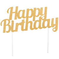 Creative Converting 324540 Gold Glitter Happy Birthday Cake Topper
