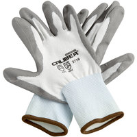 Caliber White HPPE Gloves with Gray Polyurethane Palm Coating - Large - Pair