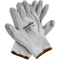 Caliber Salt and Pepper HPPE / Synthetic Fiber Gloves with Gray Polyurethane Palm Coating - Large - Pair