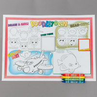 Hoffmaster Doodletown Fun Double-Sided Interactive Placemat with Choice 4 Pack Kids Restaurant Crayons - 1000/Set