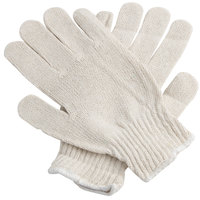 Medium Weight Natural Polyester / Cotton Work Gloves with Black PVC Dotted Palm Coating - Large - Pair - 12/Pack