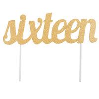 Creative Converting 324535 Gold Glitter Sixteen Cake Topper
