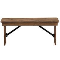 Flash Furniture XA-B-40X12-GG Hercules 40 1/4 inch x 12 inch x 17 3/4 inch Antique Rustic Solid Pine Folding Farm Bench