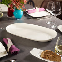 Villeroy & Boch 10-3452-3876 Urban Nature 19 1/2 inch x 10 11/16 inch White Premium Porcelain Oval Platter - 4/Case