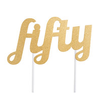 Creative Converting 324538 Gold Glitter Fifty Cake Topper