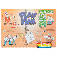 Choice Play Time Interactive Placemat with 4 Pack Kids Restaurant Crayons - 1000/Set