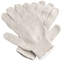 Standard Weight Natural Polyester / Cotton Work Gloves with Black PVC Dotted Palm Coating - Large - Pair - 12/Pack