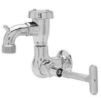 Fisher 55344 Wall Mounted Stainless Steel Service Sink Faucet with 3 inch Service Sink Spout, Garden Hose Outlet, and Key Handle