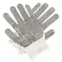 Lightweight Natural Polyester / Cotton Work Gloves with Two-Sides Black PVC Dots Coating - Large - Pair - 12/Pack