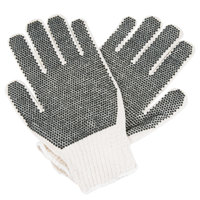 Medium Weight Gray Polyester / Cotton Work Gloves with Two-Sides Black PVC Dots Coating - Large - Pair - 12/Pack
