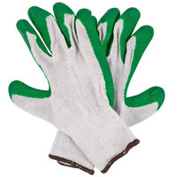 Natural Polyester / Cotton Work Gloves with Green Latex Palm Coating - Large - Pair - 12/Pack