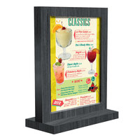 Menu Solutions WTFR-A 4 inch x 6 inch Ash Framed Wood Menu Tent with Straight Base
