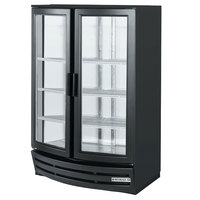 Beverage Air MM14Y-1-B-W-LED Black 2-Glass Curved Door Merchandising Refrigerator with LED Lighting- 14 Cu. Ft.