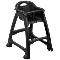 Lancaster Table & Seating Assembled Black Stackable Plastic Restaurant High Chair with Tray and Wheels