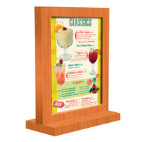 Menu Solutions WTFR-A 4 inch x 6 inch Mandarin Framed Wood Menu Tent with Straight Base