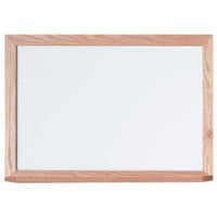 Aarco WOC1824 Commercial Series 18 inch x 24 inch General Purpose White Melamine Markerboard with Solid Red Oak Wood Frame