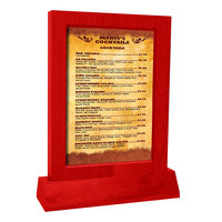 Menu Solutions WTFR-A-2S 4 inch x 6 inch Berry Framed Wood Menu Tent With Angled Base