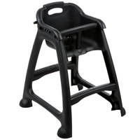 Lancaster Table & Seating Assembled Black Stackable Plastic Restaurant High Chair with Tray (No Wheels)