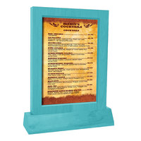 Menu Solutions WTFR-A-2S 4 inch x 6 inch Sky Blue Framed Wood Menu Tent With Angled Base