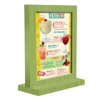 Menu Solutions WTFR-A 4 inch x 6 inch Lime Framed Wood Menu Tent with Straight Base