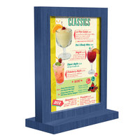 Menu Solutions WTFR-A 4 inch x 6 inch True Blue Framed Wood Menu Tent with Straight Base