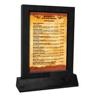 Menu Solutions WTFR-A-2S 4 inch x 6 inch Black Framed Wood Menu Tent With Angled Base