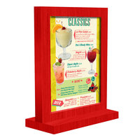 Menu Solutions WTFR-A 4 inch x 6 inch Berry Framed Wood Menu Tent with Straight Base