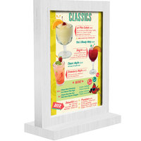 Menu Solutions WTFR-B 5 inch x 7 inch White Wash Framed Wood Menu Tent with Straight Base