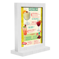 Menu Solutions WTFR-A 4 inch x 6 inch White Wash Framed Wood Menu Tent with Straight Base