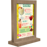 Menu Solutions WTFR-B 5 inch x 7 inch Weathered Walnut Framed Wood Menu Tent with Straight Base