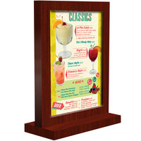 Menu Solutions WTFR-B 5 inch x 7 inch Mahogany Framed Wood Menu Tent with Straight Base