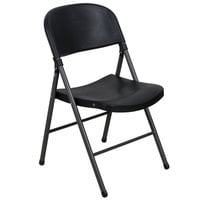 Lancaster Table & Seating Black Contoured Blow Molded Folding Chair with Charcoal Frame