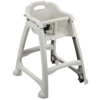 Lancaster Table & Seating Assembled Gray Stackable Plastic Restaurant High Chair with Tray and Wheels