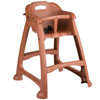 Lancaster Table & Seating Assembled Brown Stackable Plastic Restaurant High Chair with Tray (No Wheels)