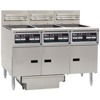 Pitco SSH55-3FD-I12 Solstice Supreme Natural Gas 120-150 lb. High Efficiency 3 Unit Floor Fryer System with Intellifry Computer Controls and Filter Drawer - 240,000 BTU