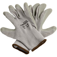 Cor-Grip II Gray Polyester / Cotton Grip Gloves with Gray Crinkle Latex Palm Coating - Large - Pair - 12/Pack