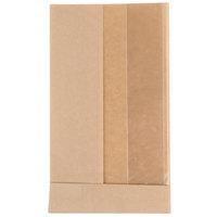 Bagcraft Papercon 300093 4 1/2 inch x 2 1/2 inch x 8 1/2 inch Dubl View ToGo! Kraft Medium Window Sandwich / Bakery Bag - 500/Case