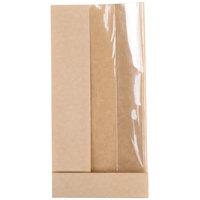 Bagcraft Papercon 300091 3 1/2 inch x 2 1/4 inch x 7 1/4 inch Dubl View ToGo! Kraft Window Half Submarine / Bakery Bag - 500/Case