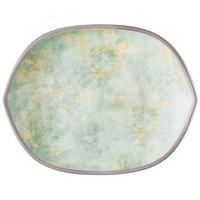Villeroy & Boch 16-4050-2781 Artesano Meadow 10 inch x 7 11/16 inch River Porcelain Hexagon Flat Plate - 6/Case