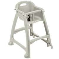 Lancaster Table & Seating Assembled Gray Stackable Plastic Restaurant High Chair with Tray (No Wheels)