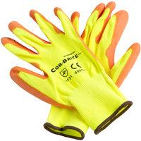 Cor-Brite Hi-Vis Yellow Polyester Gloves with Hi-Vis Orange Polyurethane Palm Coating - Medium - Pair - 12/Pack