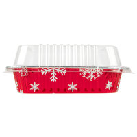 Durable Packaging 9101X 8 inch Square Holiday Foil Cake Pan with Clear Dome Lid   - 100/Case
