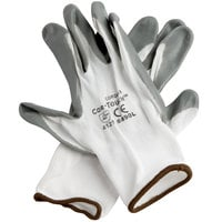 Cor-Touch White Nylon Gloves with Gray Flat Nitrile Palm Coating - Extra Large - Pair - 12/Pack