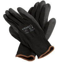 Black Nylon Glove with Black Polyurethane Palm Coating - Large - Pair - 12/Pack