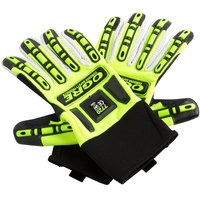 OGRE Lime Spandex Gloves with Corded Canvas Palm Coating and TPR Reinforcements - Large - Pair