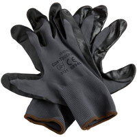 Cor-Touch II Gray Polyester Gloves with Black Flat Nitrile Palm Coating - Large - Pair - 12/Pack