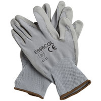 Gray Polyester Gloves with Gray Polyurethane Palm Coating - Extra Large - Pair - 12/Pack
