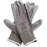 Cor-Touch Lite Gray Nylon Gloves with Gray Polyurethane Palm Coating - Large - Pair - 12/Pack