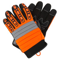 Colossus Hi-Vis Orange Spandex Gloves with Black Synthetic Leather Palm and TPR Protectors - Large - Pair