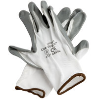 Cor-Touch White Nylon Gloves with Gray Flat Nitrile Palm Coating - Large - Pair - 12/Pack